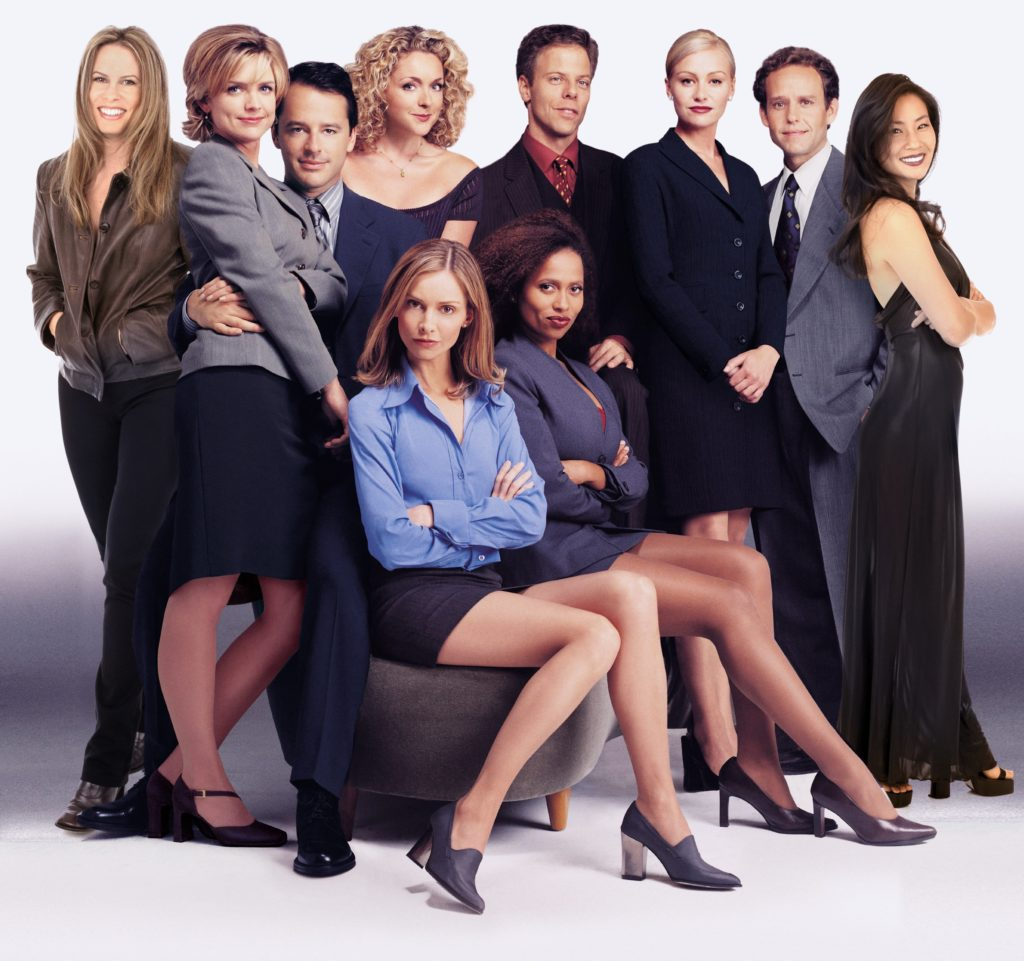 ALLY McBEAL CAST: (Top L-R) Vonda Shepard, Courtney Thorne-Smith, Gil Bellows, Jane Krakowski, Greg Germann, Portia de Rossi, Peter MacNicol, Lucy Liu, (Seated L-R) Calista Flockhart, Lisa Nicole Carson. ©1998 FOX BROADC ASTING COMPANY CR: FOX